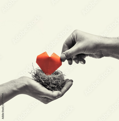 Bird nest with red heart in woman and man hands Canvas Print
