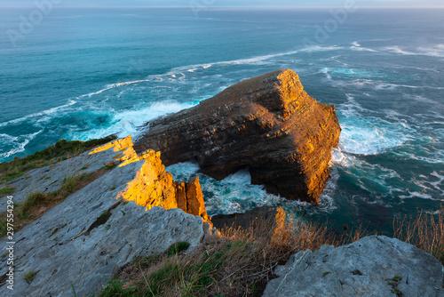 Vidio Cape at sunrise, Asturias, Spain Canvas Print