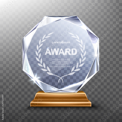 Glass award trophy or winner prize realistic vector illustration Canvas Print
