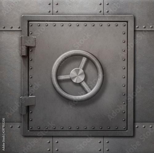 Bank vault or bunker door on metal wall 3d illustration Wallpaper Mural