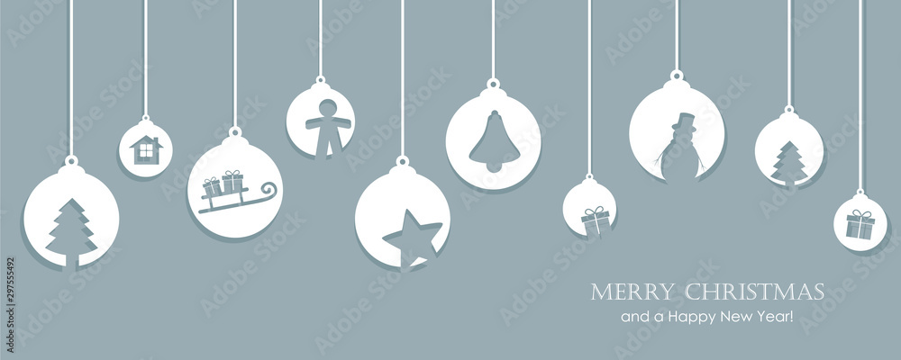 Fototapeta christmas card with tree balls decoration vector illustration EPS10