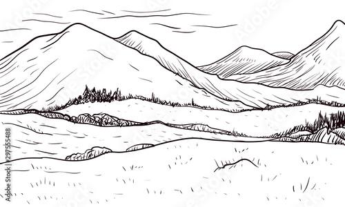 Papiers peints Blanc abstract monochrome vector sketch of landscape
