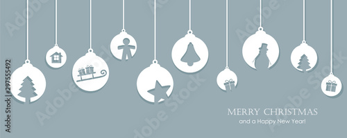 Photo christmas card with tree balls decoration vector illustration EPS10