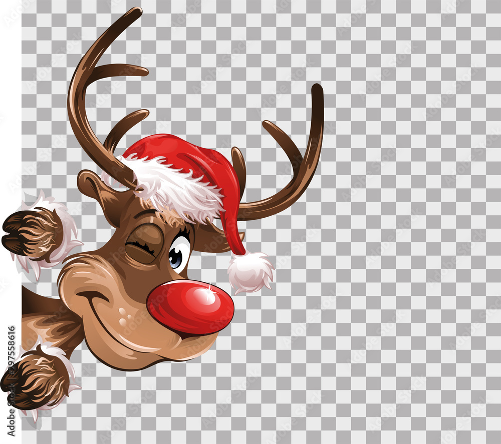 Fototapety, obrazy: Rudolph Christmas red hat transparent isolated Background Vector Illustration