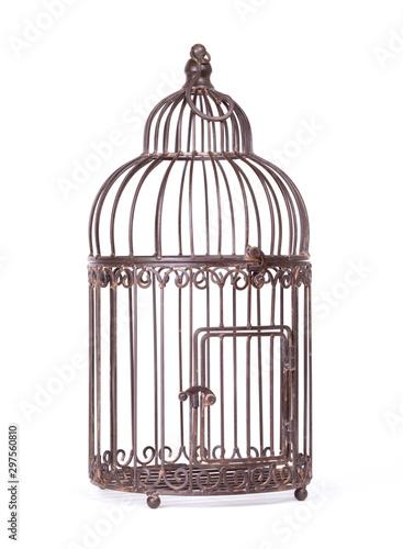 Empty birdcage on white background Canvas Print