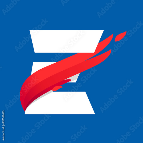Fotografie, Obraz  E letter logo with fast speed red bird wing.