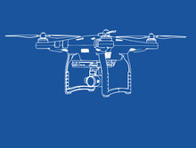 Quadcopter Drawing On A Blue B...