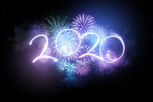 2020 Happy New Year Fireworks Display Background.