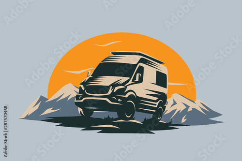 Tela Camper van illustration with rocks and mountains
