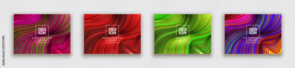 Fototapety, obrazy: Fashion poster million thin lines luxury design. Liquid wave lines fashion background. Beautiful flowing drape textiles from multitude of thin threads. Vector illustration vogue drape banner EPS10 set