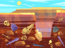 Archaeological Excavations, Cartoon Vector Illustration. Desert Landscape With Sand Dunes, Bright Sun And Dug Pit. Underground Soil With Fossils And Ancient Artifacts In Them, Cross Section