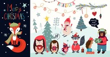 Christmas Elements Collection With Christmas Greeting Card And Other Seasonal Elements, Funny Characters On An Winter Background