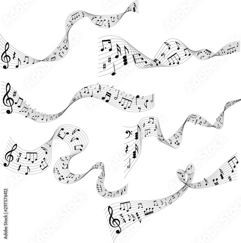 Abstract wavy musical scores with many lines Fototapet
