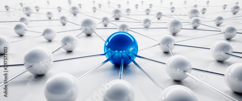 Blue and white sphere network structure - abstract design connection design - 3D Tapéta, Fotótapéta