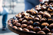 Roasted Chestnuts On Sale In Rome, Italy