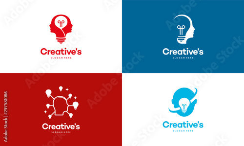 Obraz Set of Creative People logo with light bulb concept vector, human head bulb lamp logo vector idea - fototapety do salonu