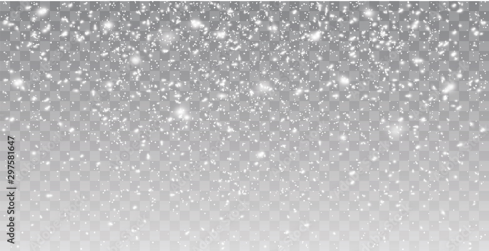 Fototapety, obrazy: Seamless realistic falling snow or snowflakes. Isolated on transparent background - stock vector.
