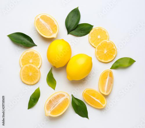 Ripe lemons on white background - 297581619