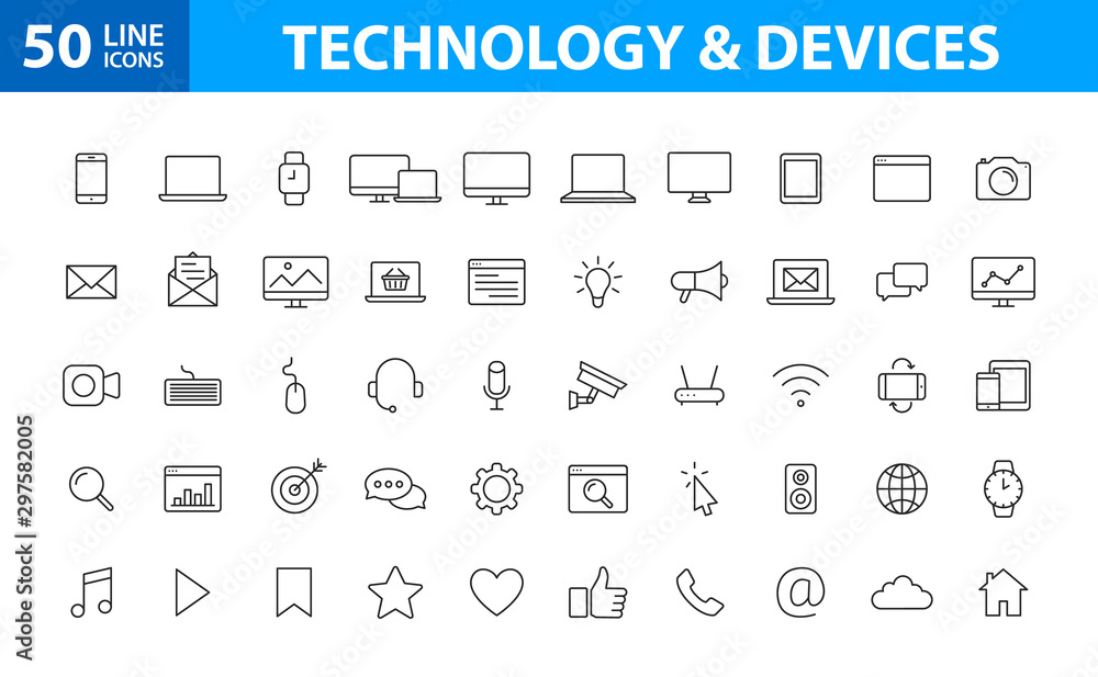 Fototapeta Set of 50 Device and technology web icons in line style. Computer monitor, smartphone, tablet and laptop. Vector illustration.