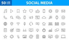 Set Of 50 Social Media Web Ico...