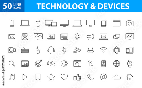 Obraz Set of 50 Device and technology web icons in line style. Computer monitor, smartphone, tablet and laptop. Vector illustration. - fototapety do salonu