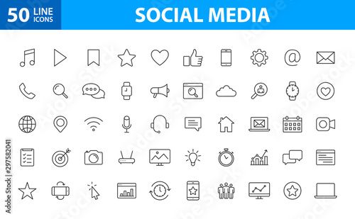 Set of 50 Social Media web icons in line style Canvas Print