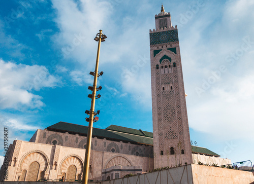 low angle view of Hassan II Mosque against sky