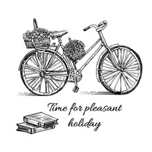Bicycle Hand Drawn Vector Sketch, Ink Illustration Old Bike With Floral Basket And Book Isolated On White Background, Vintage Decorative For Design Invite, Greeting Card, Advertising, Fashion Print