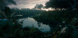 canvas print picture - Beautiful sunset in jungle paradise. Dense rainforest vegetation and calm river. 3d rendering.
