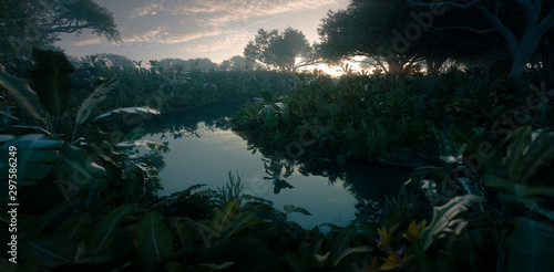 Beautiful sunset in jungle paradise Slika na platnu