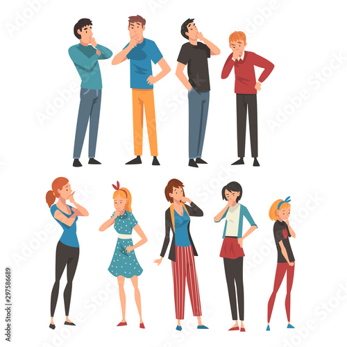 Fotografie, Tablou People think about something in different clothes and ages cartoon vector illust