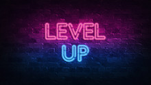 Level Up Neon Sign. Purple And...