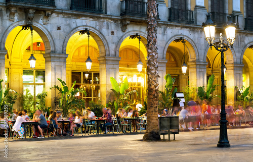 Night illumination of Royal square in Barcelona Canvas Print