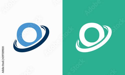 Fotomural  Simple Shield Letter O logo designs, O initial Shield Planet Circle logo symbol