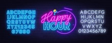 Happy Hour Neon Sign On Dark B...