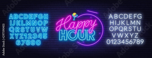 Fotografie, Obraz Happy hour neon sign on dark background