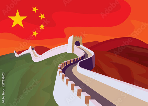 Fototapeta The great Wall of China with chinese flag in the sky