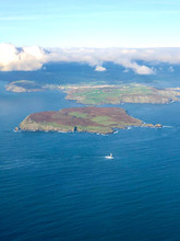 Aerial View Of The Calf Of Man With The Lighthouse, The Most Southern Point Of The Isle Of Man