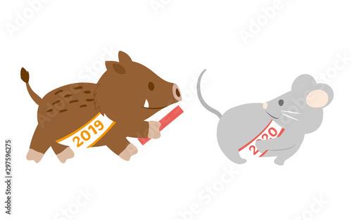 いのししからネズミへ 2020年干支バトンタッチのイラスト素材