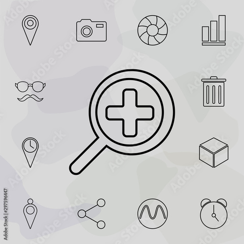 magnifying glass approximation icon Wallpaper Mural