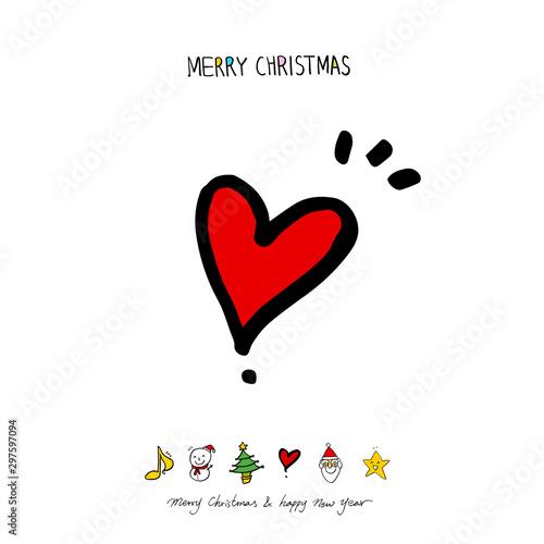 성탄절 / 손으로 그린 성탄절 카드 Canvas Print