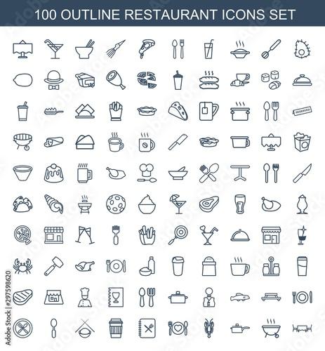 Obraz na plátně  100 restaurant icons