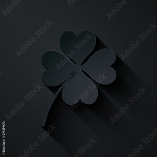 Fotografía Paper cut Four leaf clover icon isolated on black background