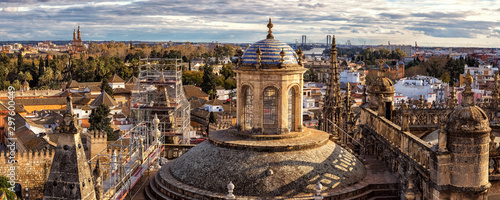 Panoramic View on Cathedral and Sevilla from former Minaret La Giralda, Spain
