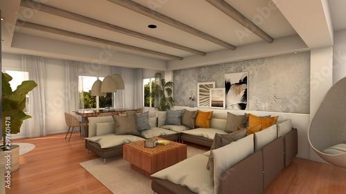Obraz na plátně  SALON COMEDOR MEDITERRANEO .PROYECTO 3D RENDER