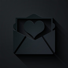 Paper Cut Envelope With Valentine Heart Icon Isolated On Black Background. Letter Love And Romance. Paper Art Style. Vector Illustration