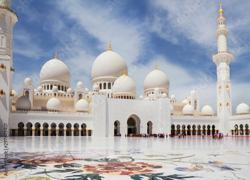 Poster Abou Dabi United Arab Emirates. abu dhabi. White mosque. It is one of the largest mosques in the world located in Abu Dhabi, the capital of the UAE. The majestic white mosque is named after Sheikh Zayed, the c