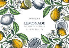Ink Hand Drawn Citrus Fruits Frame Design. Vector Lemons Background With Citrus Fruits, Flowers, Seeds, Leaves Sketches. Perfect For Banners, Greeting Cards, Invitations, Prints. Lemon Outlines.