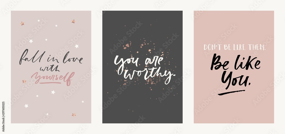 Fototapeta Inspirational quote set with brush lettering vector illustration. Poster fall in love with yourself, you are worthy, dont be like them be like you motivational phrase decorated by golden sparkles