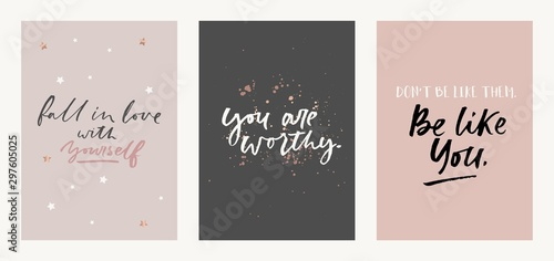 Fotografía Inspirational quote set with brush lettering vector illustration